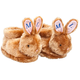 Personalized Brown Plush Bunny Slippers, One Size