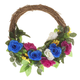 Lighted Jewel Tone Floral Wreath, One Size