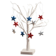 White Wire Tree and Patriotic Ornaments, Set of 9, One Size
