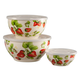 Metal Nested Strawberry Mixing Bowls with Lids, set of 6, One Size