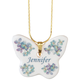 Personalized Porcelain Butterfly Pendant, One Size