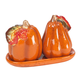 Ceramic Harvest Pumpkin Salt and Pepper Shaker with Tray, One Size