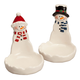Snowman Couple Ceramic Cookie Plates, Set of 2, One Size