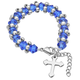 Children's Crystal Beaded Stretch Bracelet with Cross, One Size