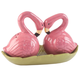 Ceramic Flamingo Salt and Pepper Shakers with tray, One Size