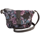 Purple Floral Tapestry Crossbody Handbag, One Size