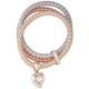 Crystal Heart & Tri-Tone Chain Stretch Bracelet, One Size