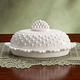 White Hobnail Depression Style Glass Butter Dish