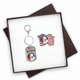 Patriotic Santa Colorized Quarter Flag Pin & Keychain Gift S, One Size