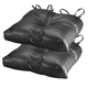 Black Faux Leather Chair Pad Set of 2, One Size