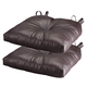 Chocolate Faux Leather Chair Pad Set of 2, One Size