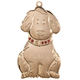 Personalized Brass Birthstone Dog Ornament, One Size