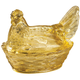Antique Yellow Depression Style Glass Hen Candy Dish, One Size