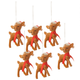 Retro Reindeer Ornaments, Set of 6, One Size
