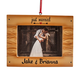 Personalized Just Married Rustic Wood Frame Ornament