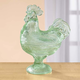 Green Depression Style Glass Rooster Candy Jar