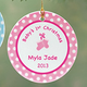 Personalized Baby Girl's First Christmas Porcelain Ornament