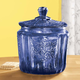 Cobalt Blue Depression Style Glass Biscuit Jar