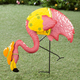 Metal Flamingo with Orange Hat by Maple Lane CreationsTM