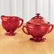 Red Depression Style Glass Sugar & Creamer Set