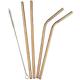 5 Piece Copper Color Reusable Straw Set