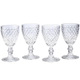 William Roberts Set of 4 Diamond Goblets