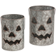 Galvanized Metal Jack-O-Lanterns, Set of 2