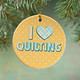 I Love Quilting Porcelain Ornament