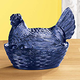 Cobalt Blue Depression Style Glass Hen Candy Dish