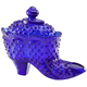 Cobalt Blue Glass Hobnail Shoe Candy Dish