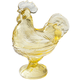 Yellow Depression Style Glass Rooster Candy Dish