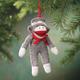 Sock Monkey Ornament, Gray