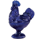 Cobalt Blue Depression Style Glass Rooster Candy Dish