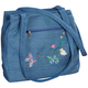Three Section Embroidered Denim Handbag, One Size