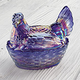 Carnival Blue Glass Hen Candy Dish