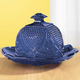 Cobalt Blue Depression Style Glass Domed Butter Dish