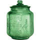 Green Depression Style Glass Large Peanut Jar, One Size