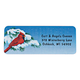 Snowy Cardinal Labels Roll - 250