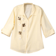 Sequined Bee 3/4 Sleeve Pinstripe Shirt, Medium, Light Yellow