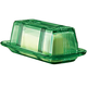 Green Depression Style Glass Butter Dish, One Size