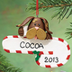 Personalized Dog With Candy Cane Ornament