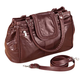 Burgundy Patch Leather Triple Top Zip Handbag, One Size