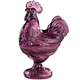 Amethyst Depression Style Glass Rooster Candy Dish