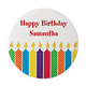 Personalized Birthday Pin - Candles