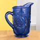 Cobalt Blue Depression Style Glass Pitcher