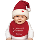 Christmas Childs Hat & Bib Set Personalized, One Size