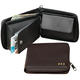 Personalized Leather Zipper Wallet, Black