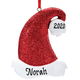 Personalized Santa Hat Glitter Ornament, One Size