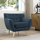 Remark Mid-Century Modern Upholstered Fabric Armchair in Azure