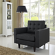 Empress Mid-Century Modern Bonded Leather Armchair in Black